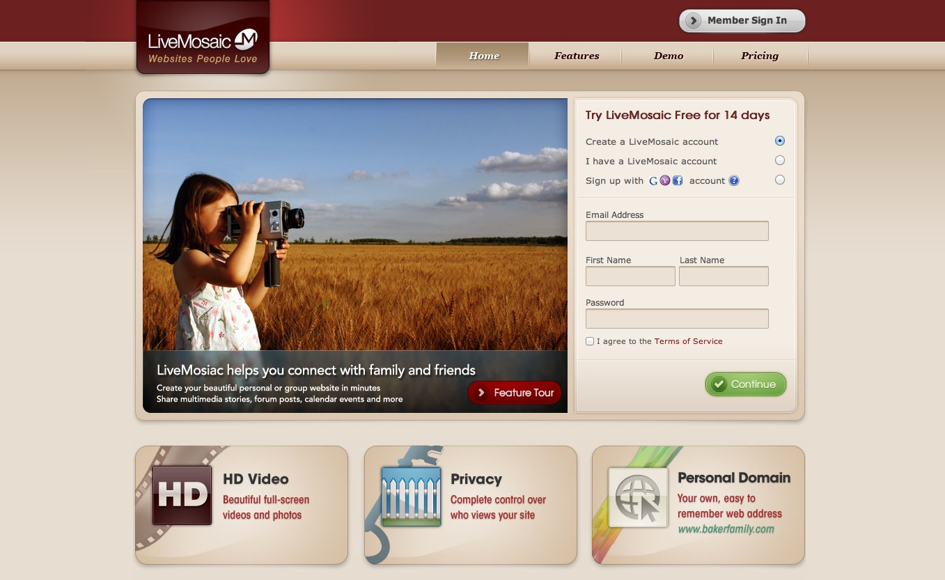 LiveMosaic home page